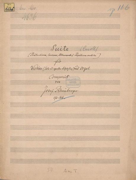 清書表紙。「ヴァイオリン(ソロもしくは大きなアンサンブル)とオルガンのため」と書かれている。BSB Mus.ms. 4636