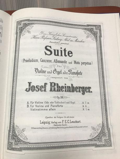 初版表紙。「ヴァイオリンとオルガンまたピアノのため」と書かれている
