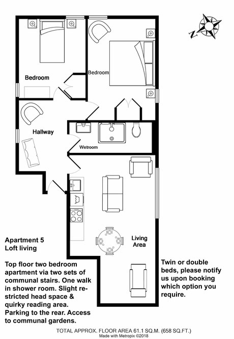 Broadstairs Apartments, Loft Living, self catering two bedroom apartment for short term let floor plan with one double bed