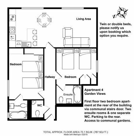 Broadstairs Apartments,Garden Views, self catering two bedroom apartment for short term let floor plan with twin beds