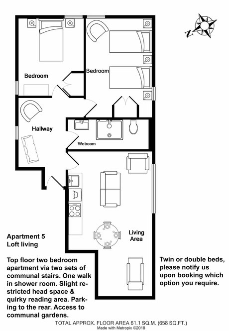Broadstairs Apartments, Loft Living, self catering two bedroom apartment for short term let floor plan with twin bed configuration