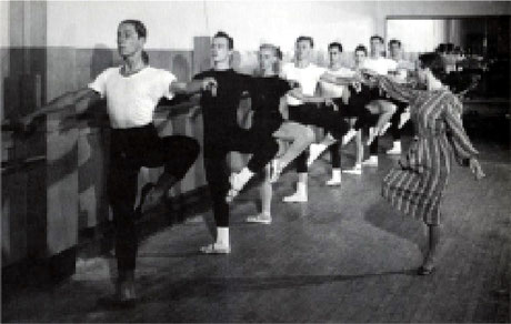 Center: Margaret Craske, a cecchetti pupil who became ballet mistress of Ballet Theatre in 1947, conducts a class with Enrique Martinez