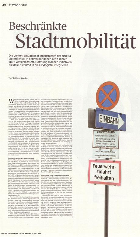 """Autorenbeitrag in der DVZ-Beilage """"XXL"""", 18.07.2014"""