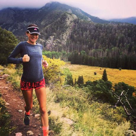 Adrienne Herzog tijdens haar duurloop op de Mesa-Trail