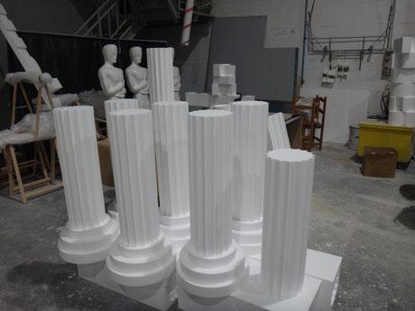 Medias columnas estriadas, sencillas