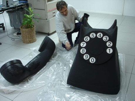 Teléfono gigante, modelo clásico negro