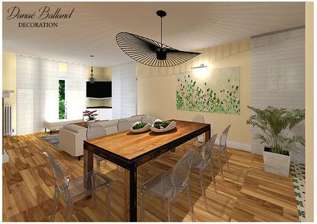 Décoration aménagement salon séjour ouvert moderne chic