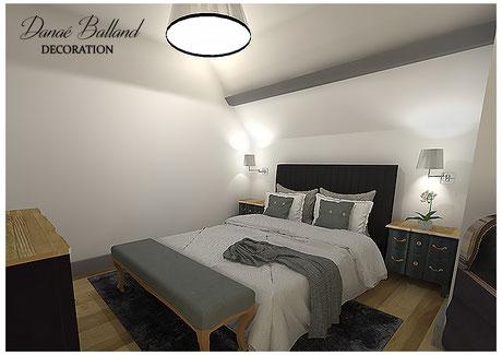 Décoration chambre suite parentale classique chic romantique bois