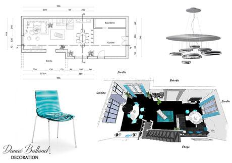 Plan séjour contemporain Danaé Balland décoration