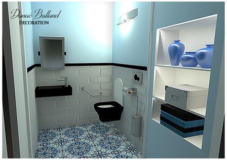 Décoration aménagement toilettes WC PMR handicapé
