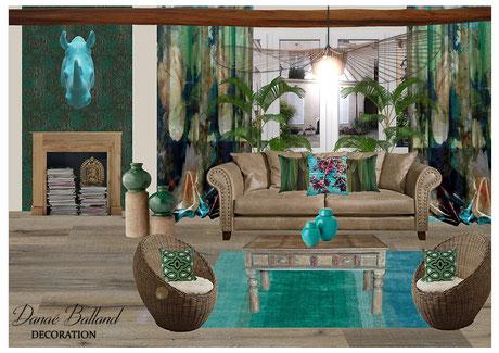 Décoration salon séjour exotique ethnique tendance bois