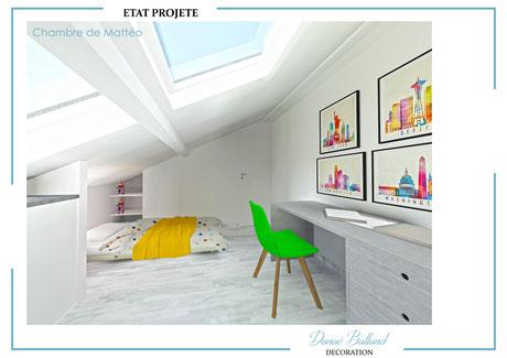 Chambre ado combles aménagés velux fenêtre de toit décoration