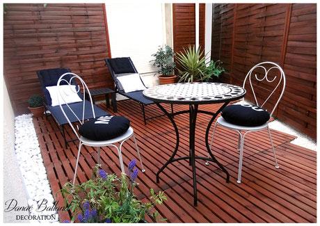 Rénovation aménagement décoration cour terrasse exotique