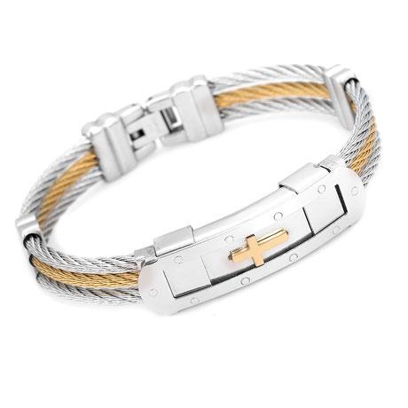 Christlicher-Schmuck-und-Geschenke-Halleluja-Styles-Armband-Stahlseil-gold