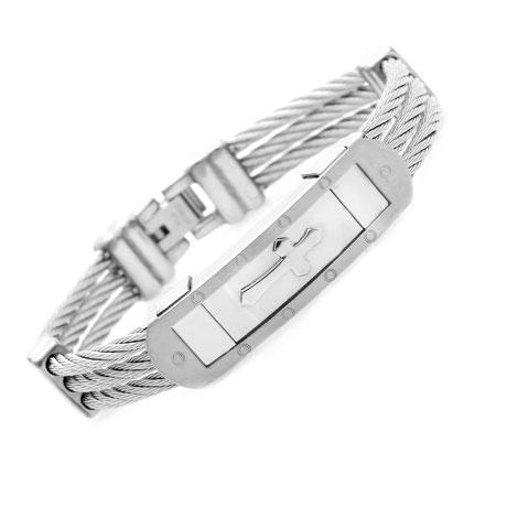 Christlicher-Schmuck-und-Geschenke-Halleluja-Styles-Armband-Stahlseil-silber