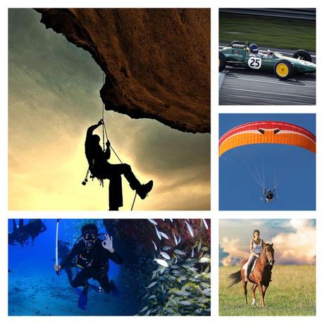 sikosportarten und gefährliche Hobbies in der Berufsunfähigkeitsversicherung:  Bergsteigen, Flugsport , Tauchsport, Motorsport, Reiten