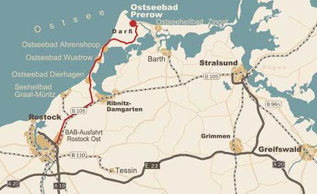 Anreise - Karte 1 - Region Prerow - Carpe Diem - Prerow - Bio-Hotel