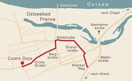 Anreise - Karte 2 - Prerow - Grüne Straße 31b - Carpe Diem - Prerow - Bio-Hotel