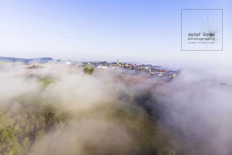 Nebel, Hochnebel, Nebel über Ostthüringen, Drohne, Drohnenfotografie, Luftbilder