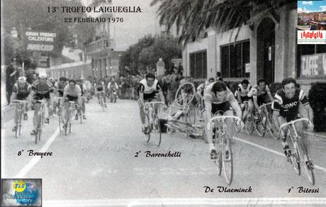 Foto courtesy: Archivio TLS, la volata vincente di F.Bitossi davanti a De Vlaeminck poi squalificato.