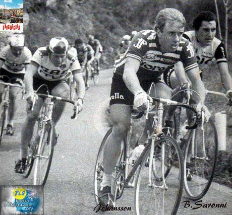 Foto courtesy: Nico Anfosso, Johansson e Saronni in testa al gruppo durante il 14° Trofeo Laigueglia, in maglia GBC  Dorino Vanzo ed in 4° posizione il campione francese Bernard Thevenet che in quel 1977 bisserà la vittoria al Tour de France del '75.