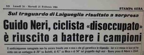 Guido Neri, Trofeo Laigueglia, Bailetti, Meco, Adorni, Zilioli, La stampa