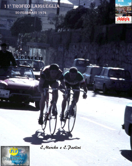 Foto courtesy: Gianni Ardoino, Eddy Merckx e Enrico Paolini in fuga al passaggio da Laigueglia, manca ancora un'ascesa alla salita del Testico prima del traguardo.