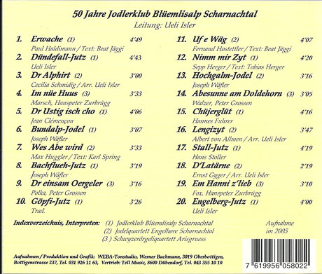 Titelliste von der CD 50 Jahre Jodlerklub Blüemlisalp Scharnachtal
