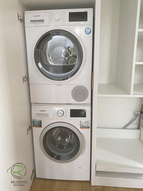 Waschturm-Waschmaschine & Trockner, Inneneinteilung-Stauraum Waschmaschinenschrank,Waschmaschinen-Einbauschrank in weiß mit Eichen-Griffleiste, weißer Schrank nach Maß für Waschturm, Schrank für Waschmaschine u. Trockner, raumhoher Waschmaschinenschrank