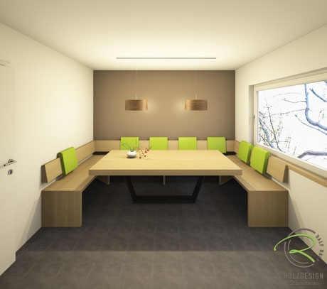 Entwurfsplanung der modernen Eckbank mit Massivholztisch in Eiche lackiert massiv mit pulverbeschichtetem Metalltischgestell u. verschiebbaren Rückenlehnen