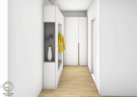 Flurschrank CAD-Entwurfsplanung - Garderobenschrank über Eck mit Dekorationsnische