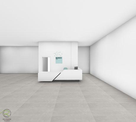 3D-CAD Entwurfsplanung der ausgeführten Verkaufstheke in weiß & grau mit schrägen Elementen