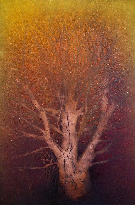 Acrylfarbe, Ölfarbe, Blattkupfer, Sprühlack, Schablone trifft auf altes Buchenfoto.   Eine alte Buche auf Kupferuntergrund , Öl, Acryl, Sprühlack, Blattkupfer auf Holzplatte.