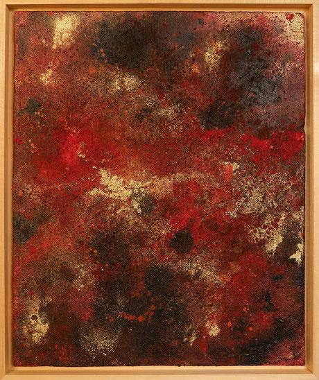 """bstraktes Kunstgemälde """"Inspirationen in Rot Nr.2""""           Farbflächen Strukturbild mit einer groben Relief ähnlichen Oberfläche"""