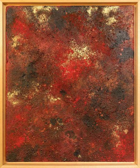 """abstraktes Kunstgemälde """"Inspirationen in Rot Nr.3""""Farbflächen Strukturbild mit einer groben Relief ähnlichen Oberfläche"""