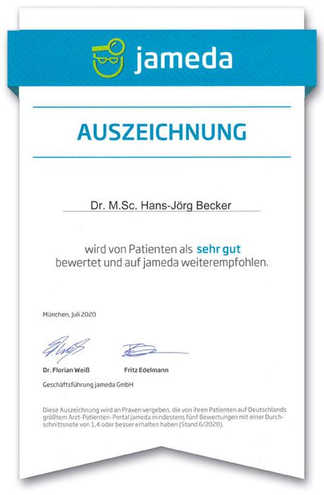 Dr. Hans-Jörg Becker ist auf Jameda mit sehr gut bewertet.