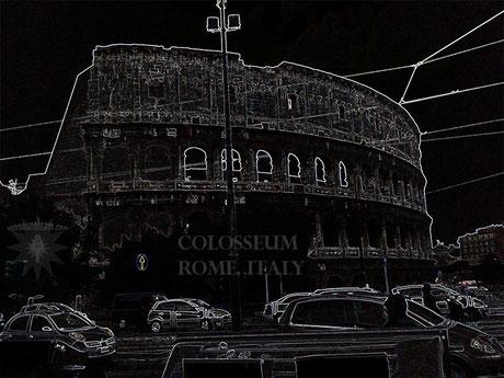 black Colosseum Rome Italy