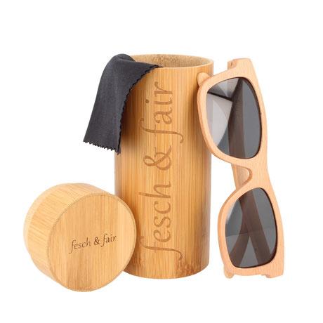 Sonnenbrille aus Buchenholz und Brillenetui