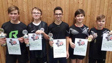 "Die ""TOP-FIVE"" bei den SG 03-Vereinsmeisterschaften der Jugend 2018 v.l.n.r.: Silas Pfeifer(1.); Johannes Steinmann(2.); Elias Schaab(3.); Joscha Freßdorf(4.); Silas Brecht(5.)"