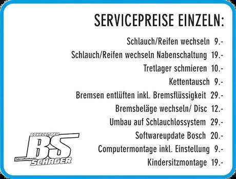 Servicepreise einzeln
