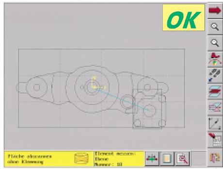 Ein Bild sagt mehr … Nach dem Scannen erhalten Sie die grafische Darstellung des Werkstücks. Im Modus Ampelkontrolle sehen Sie auf einen Blick das zusammengefaßte Messergebnis – OK oder NG (No Go).