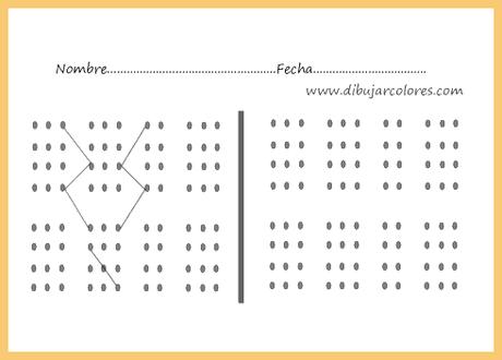 La percepción se centra  en captar el recorrido que forman las líneas rectas que construyen ''caminos'' entre las líneas punteadas