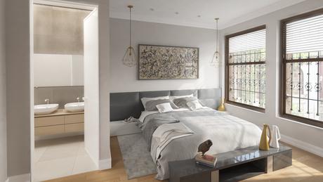 Dormitorio para rehabilitación de vivienda en Bilbao. Render 3D interior