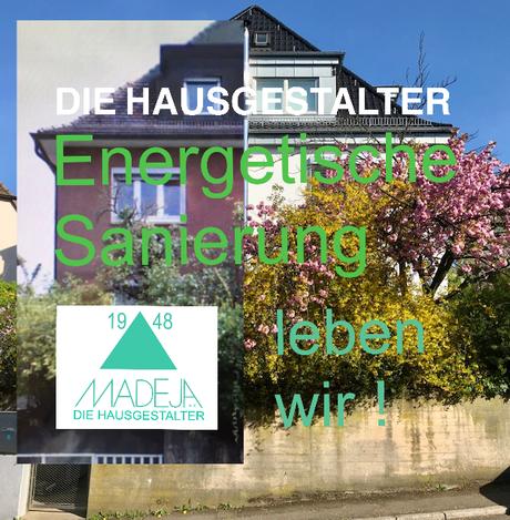 eine hälfte Haus vor der energetischen Sanierung , die andere hälfte vom Haus nach der energetischen Sanierung - MADEJA - DIE HAUSGESTALTER Stuttgart