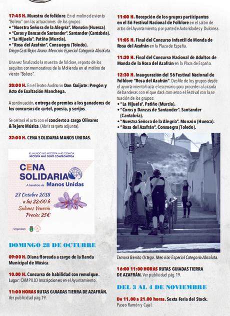 Programa de la Fiesta de la Rosa del Azafrán en Consuegra