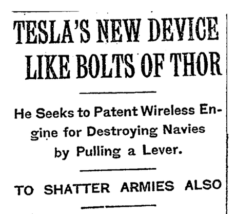 A New York Times headline from December 8th, 1915