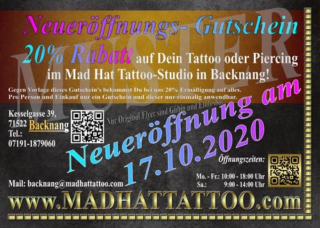 20% Rabatt Aktion, Bei Vorlage dieses Gutscheins bekommst Du 20% Ermäßigung  auf dein Tattoo oder Piercing bei Mad Hat Tattoo in Backnang!