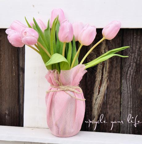 vase aus schraubglas & stoffrest...