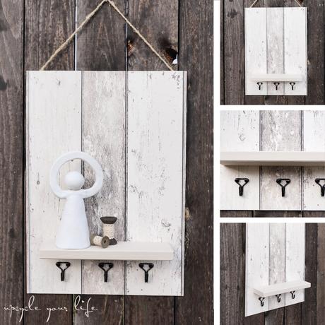 schlüssel-ablage... aus sperrholz mit tapetenresten dekoriert...