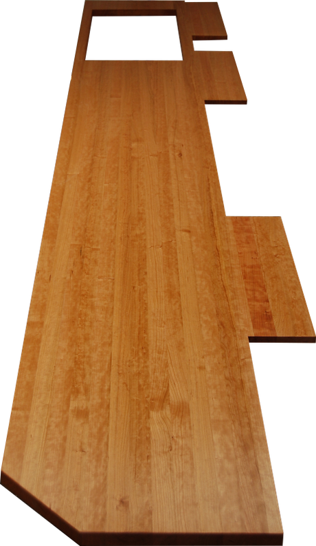 Massivholzplatte für die Küche mit Ausschnitt für Elektrogerät und individuellem Zuschnitt aus Eiche Stadtwaldholz